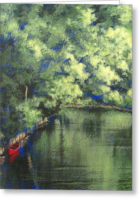 Carlynne Hershberger Greeting Cards - Red Canoe Greeting Card by Carlynne Hershberger