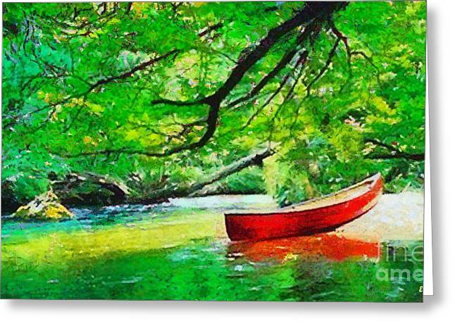 Red Canoe Greeting Card by Elizabeth Coats