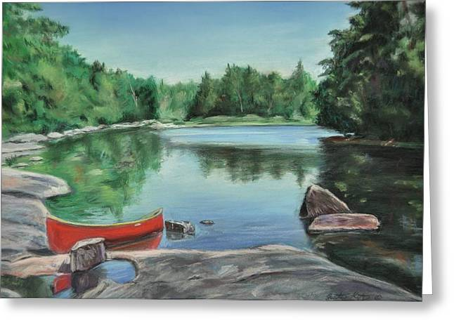 Portage Pastels Greeting Cards - Red Canoe Greeting Card by Heather Kertzer