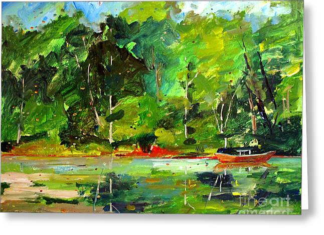 Red Canoe I Greeting Card by Charlie Spear