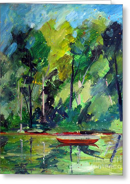 Canoe Paintings Greeting Cards - Red Canoe I I Greeting Card by Charlie Spear