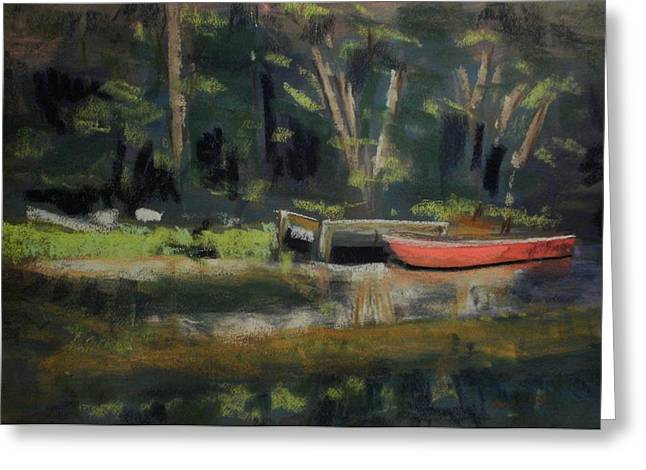 Red Canoe Greeting Card by Tim  Swagerle