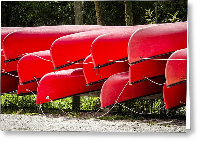 Photos Fitness Greeting Cards - Red Canoes Greeting Card by Carolyn Marshall