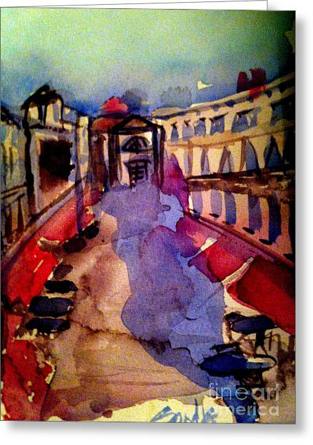 Red Canopies Greeting Card by Sandra Stone