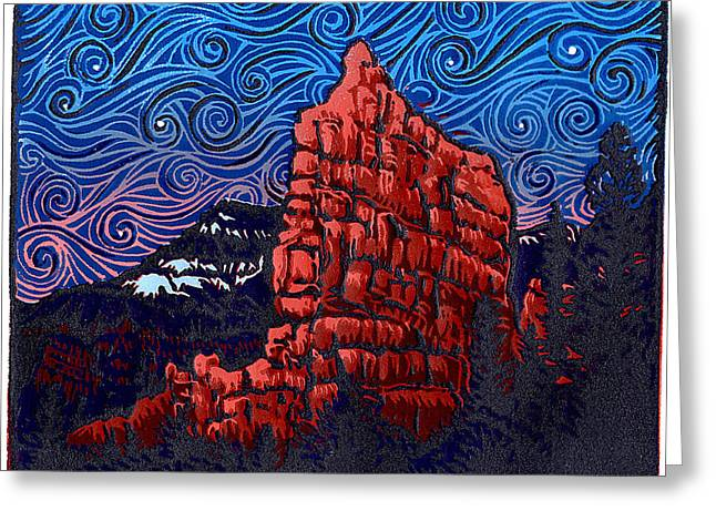 Linocut Paintings Greeting Cards - Red Canyon at Night - Linocut Print Greeting Card by Manny Mellor