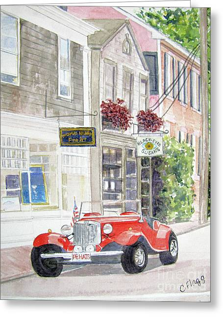 Cape Cod Mass Paintings Greeting Cards - Red Car Greeting Card by Carol Flagg