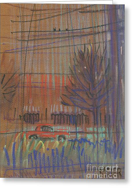 Car Pastels Greeting Cards - Red Car Greeting Card by Donald Maier