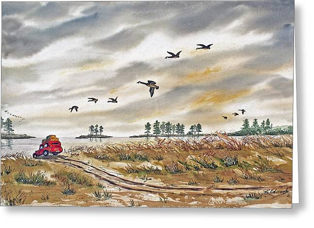 Red Car On Beach Greeting Card by Raymond Edmonds