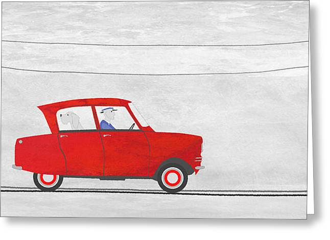 Road Trip Drawings Greeting Cards - Red car on Telegraph Road Greeting Card by J Ripley Fagence