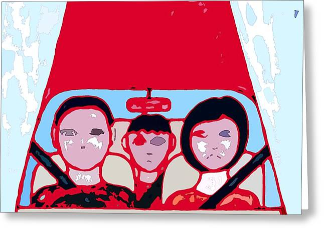 Driving Mixed Media Greeting Cards - Red Car Greeting Card by Patrick J Murphy
