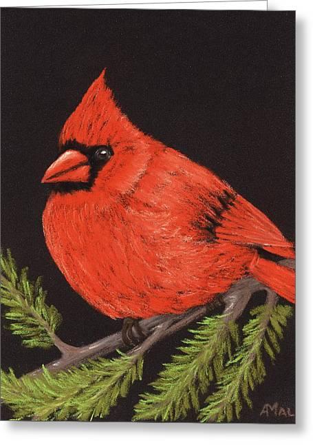 Beauty Pastels Greeting Cards - Red Cardinal Greeting Card by Anastasiya Malakhova