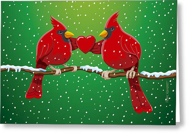 Holiday Greeting Cards - Red Cardinal Bird Pair Heart Christmas Greeting Card by Frank Ramspott