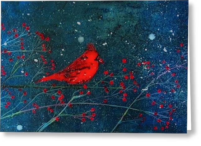 Laura Carter Greeting Cards - Red Cardinal Winter Landscape Painting Art Print Greeting Card by Laura  Carter
