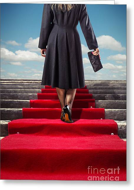 Red Carpet Stairway Greeting Card by Carlos Caetano