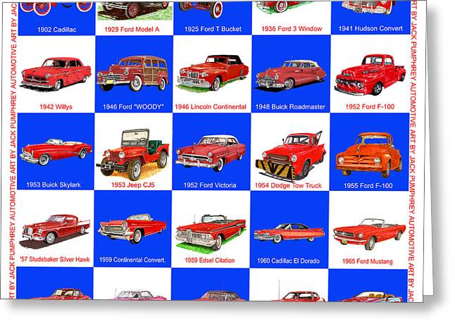 Converting Greeting Cards - RED CARS of AMERICA Greeting Card by Jack Pumphrey