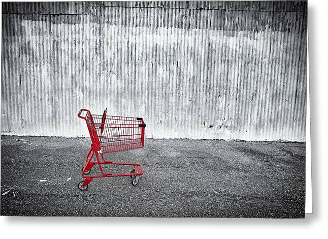Shopping Cart Greeting Cards - Red Cart Greeting Card by Patrick M Lynch