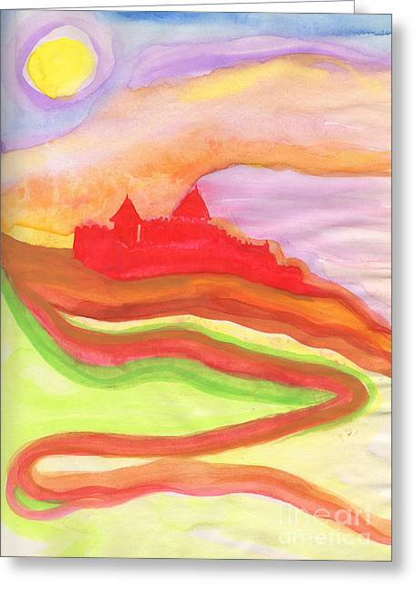 Red Castle Greeting Card by First Star Art