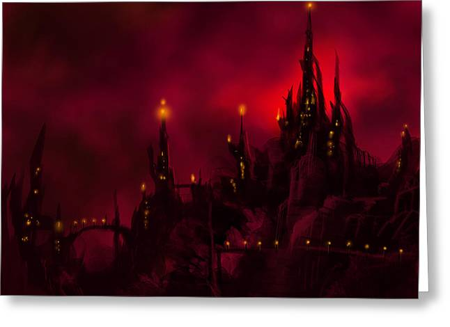 Sorcerer Greeting Cards - Red Castle Greeting Card by James Christopher Hill