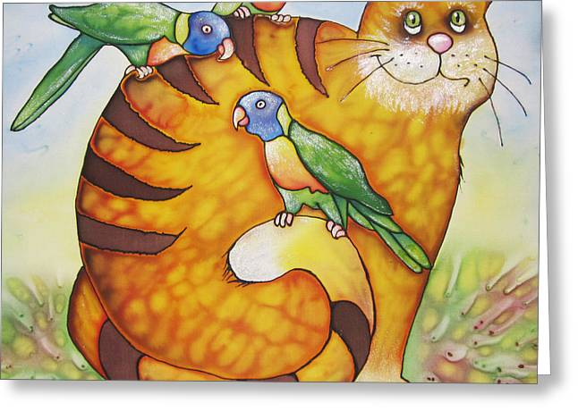 Funny Tapestries - Textiles Greeting Cards - Red cat and lorikeets Greeting Card by Violetta Kurbanova