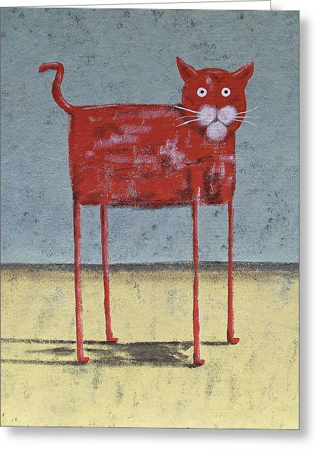 Pictures Of Cats Greeting Cards - Red Cat Greeting Card by Dan Engh