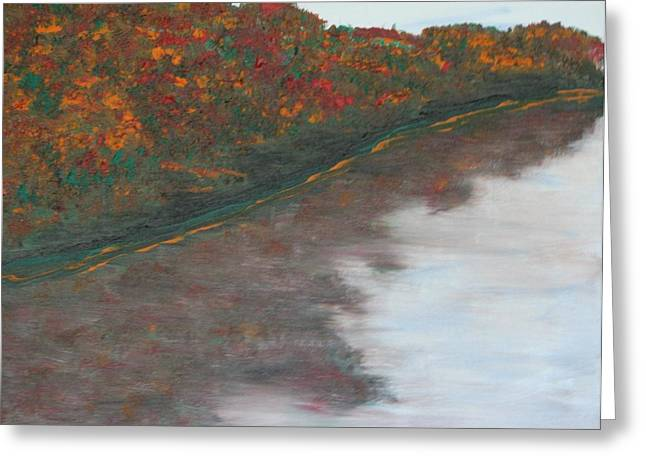 Rivers In The Fall Paintings Greeting Cards - Red Cedar River II Greeting Card by Myrtle Joy