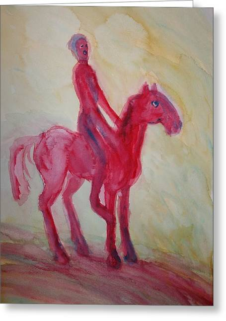 Mental Process Greeting Cards - Red centaur Greeting Card by Hilde Widerberg