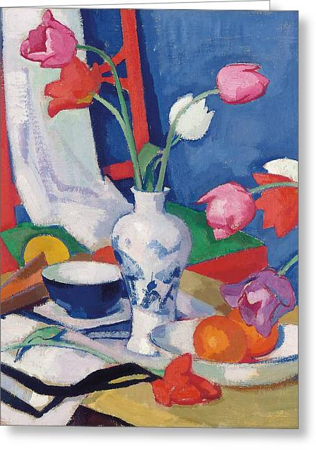 White Paintings Greeting Cards - Red Chair And Tulips, C.1919 Greeting Card by Samuel John Peploe