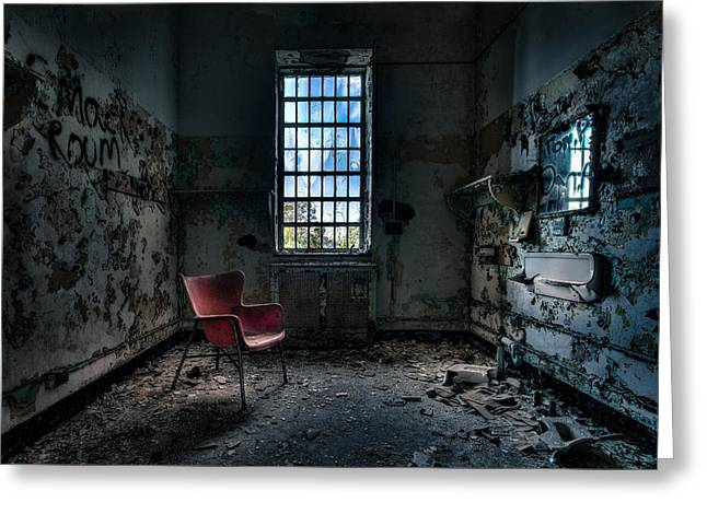 Psychiatric Greeting Cards - Red Chair - Art Deco Decay - Gary Heller Greeting Card by Gary Heller