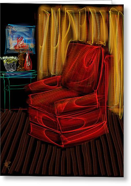 Empty Chairs Mixed Media Greeting Cards - Red Chair at Night Greeting Card by Russell Pierce
