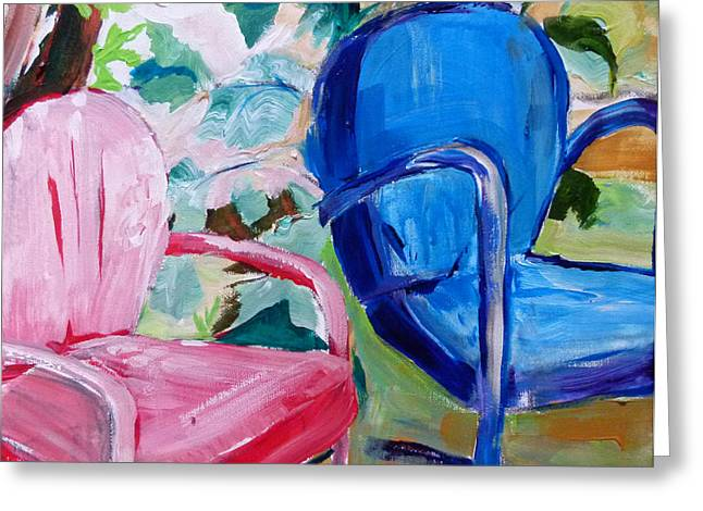 Suzanne Willis Greeting Cards - Red Chair Blue Chair Greeting Card by Suzanne Willis