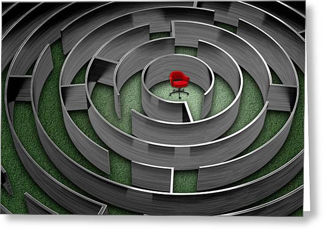 Problem Greeting Cards - Red Chair In Middle Of Maze Greeting Card by Panoramic Images