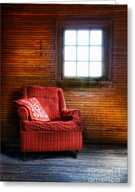 Empty Chairs Greeting Cards - Red Chair in Panelled Room Greeting Card by Jill Battaglia