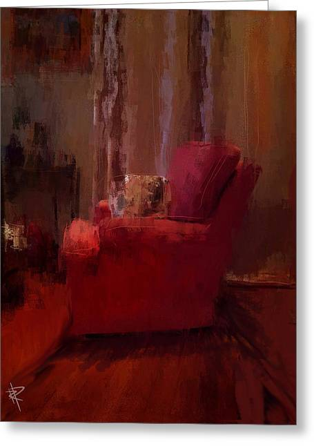 Cushions Mixed Media Greeting Cards - Red Chair in Profile Greeting Card by Russell Pierce