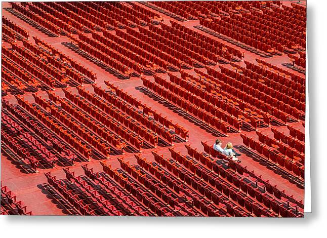 Open Air Theater Greeting Cards - Red Chairs Greeting Card by Dobromir Dobrinov