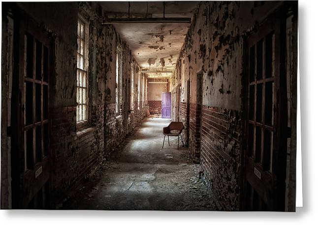Mental Institution Greeting Cards - Red Chairs Purple Doors Greeting Card by Jason Green