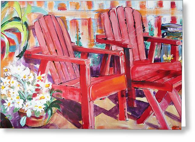 Suzanne Willis Greeting Cards - Red Chairs Greeting Card by Suzanne Willis