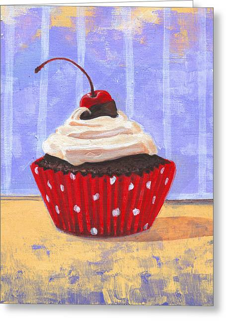 Blueberry Drawings Greeting Cards - Red Cherry Cupcake Greeting Card by Marco Sivieri