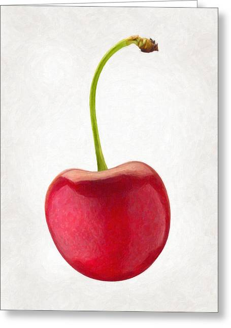 Single Object Paintings Greeting Cards - Red Cherry  Greeting Card by Danny Smythe