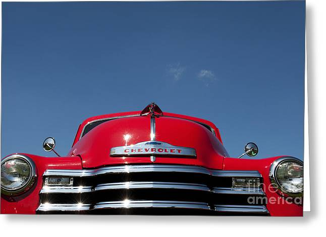 General Motors Company Greeting Cards - Red Chevrolet 3100 1953 Pickup  Greeting Card by Tim Gainey