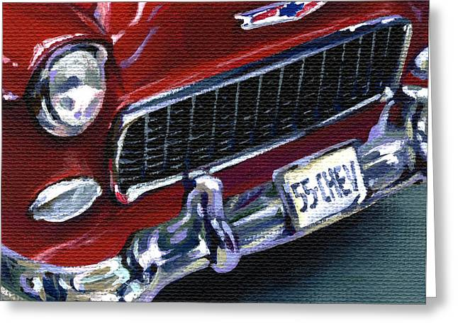 American Automobiles Paintings Greeting Cards - Red Chevy Greeting Card by Natasha Denger
