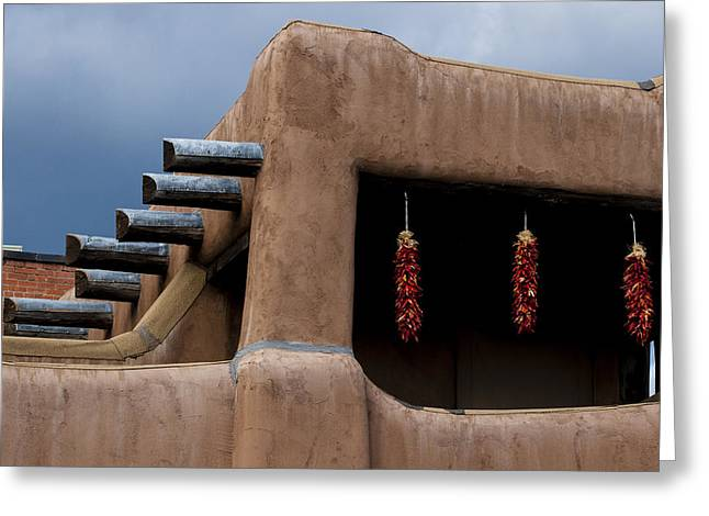 Chile Greeting Cards - Red Chile Ristras Santa Fe Greeting Card by Carol Leigh
