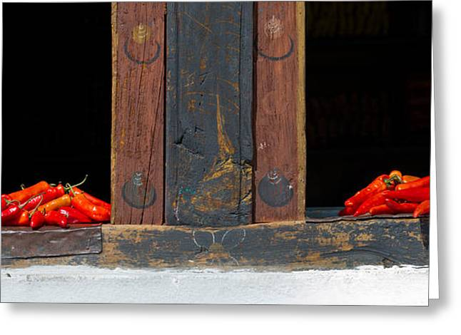 Red Chilies Drying On Window Sill Greeting Card by Panoramic Images