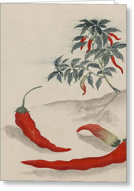 Chilli Greeting Cards - Red Chilli Greeting Card by Aged Pixel