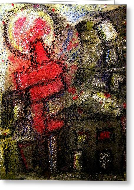 Haus Greeting Cards - Red Chimney - Roter Schornstein Greeting Card by Mimulux patricia no