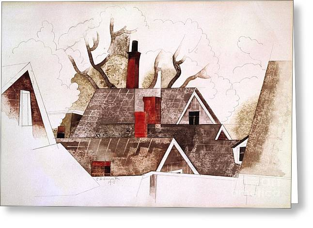 Demuth Greeting Cards - Red Chimneys Greeting Card by Pg Reproductions