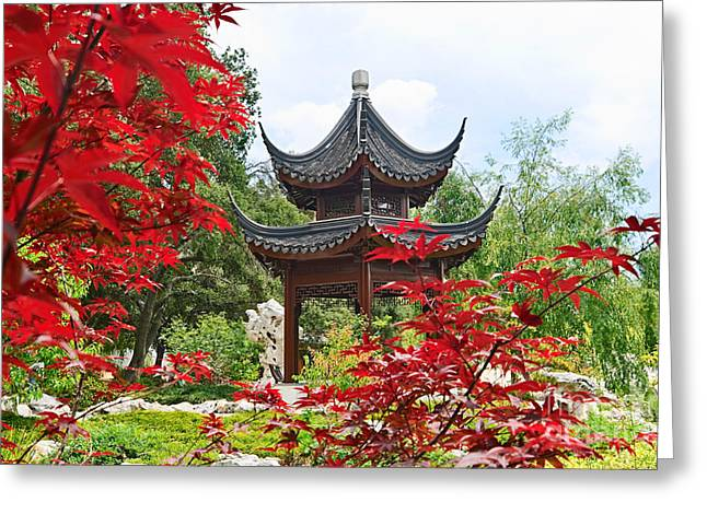 Red Maple Trees Greeting Cards - Red - Chinese Garden with Pagoda and lake. Greeting Card by Jamie Pham