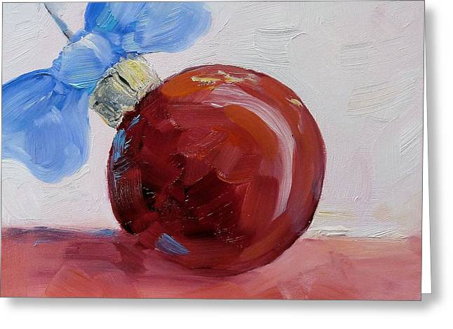 Christmas Art Greeting Cards - Red Christmas Ball Greeting Card by Suzy Pal Powell