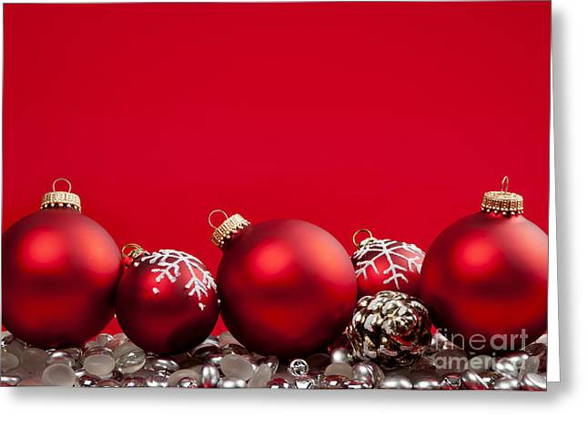 Beads Greeting Cards - Red Christmas baubles and decorations Greeting Card by Elena Elisseeva