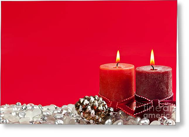 Christmas Greeting Photographs Greeting Cards - Red Christmas candles Greeting Card by Elena Elisseeva