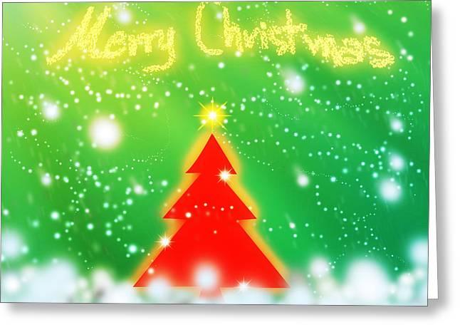 Backdrop Digital Art Greeting Cards - Red Christmas Tree Greeting Card by Atiketta Sangasaeng